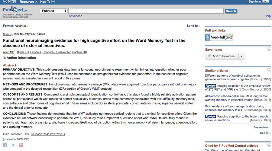 an image of an article published by Dr. Allen in 2008-2010
