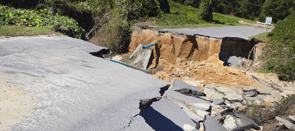Example of permanent damage to a road