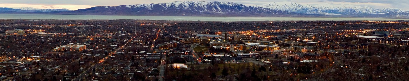 """""""Panoramic View of Provo and Utah Valley after Sunset from the Y Mountain Trailhead"""" by Tanner Young"""