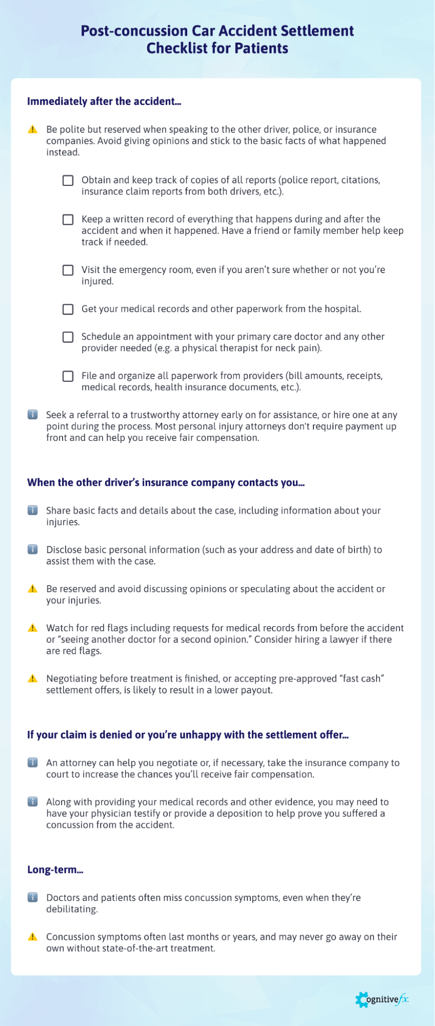 Use this checklist and read our post on how to navigate a settlement for PCS after an accident.