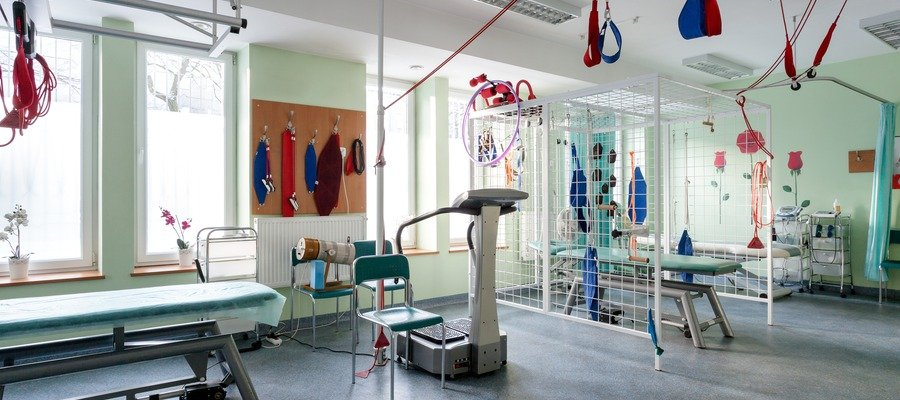 Therapy room shows many types of equipment available for patients