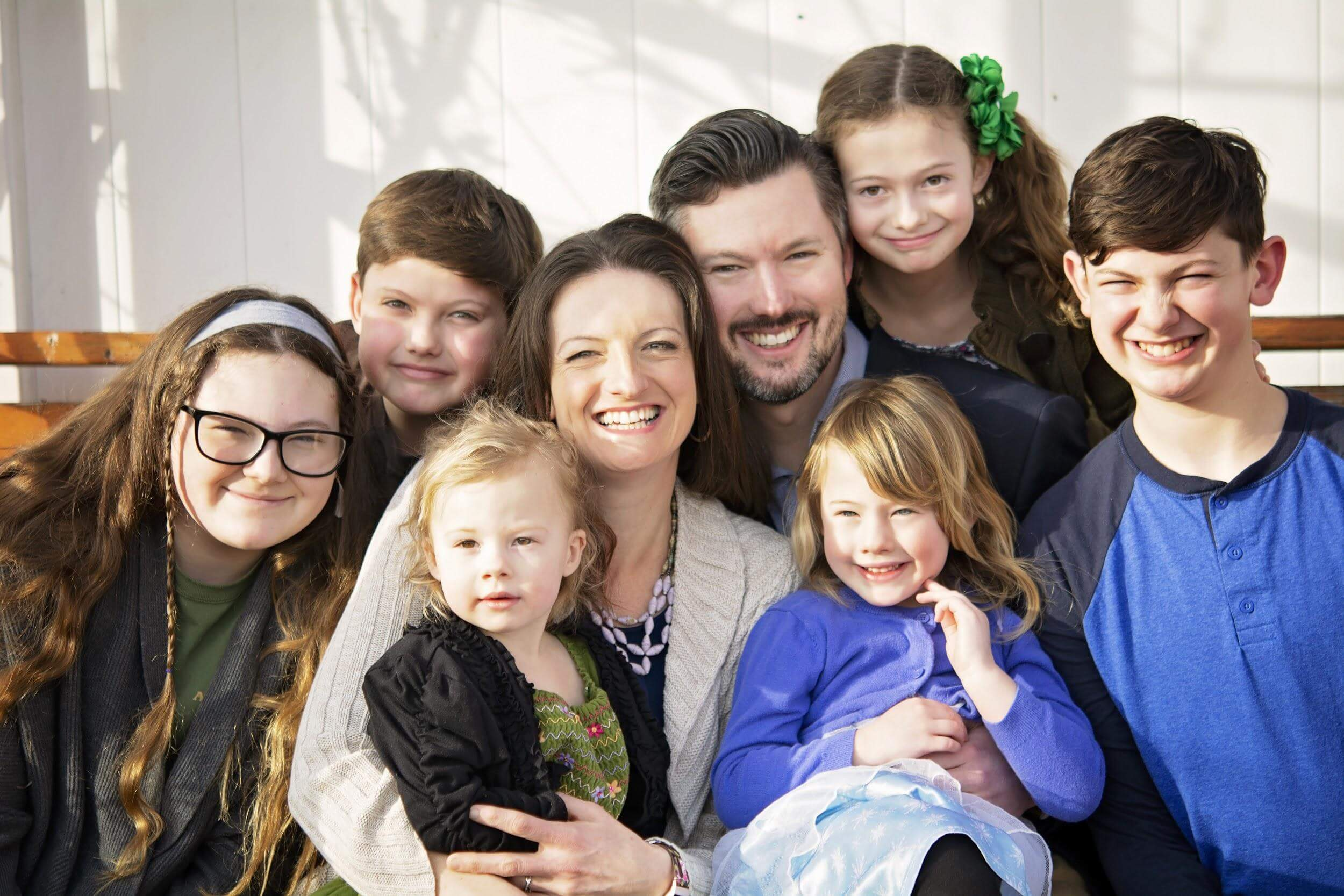 Anthony Loubet with his wife and 6 children.