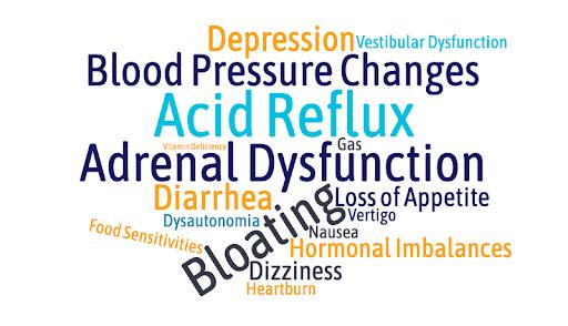 Symptoms of Post-Concussion Gastrointestinal Dysfunction: Depression, Blood Pressure Changes, Acid Reflux, Diarrhea, Bloating, Food sensitivities, Heartburn, Hormonal Imbalance, Vertigo, Loss of Appetite, Gas, Nausea, etc.
