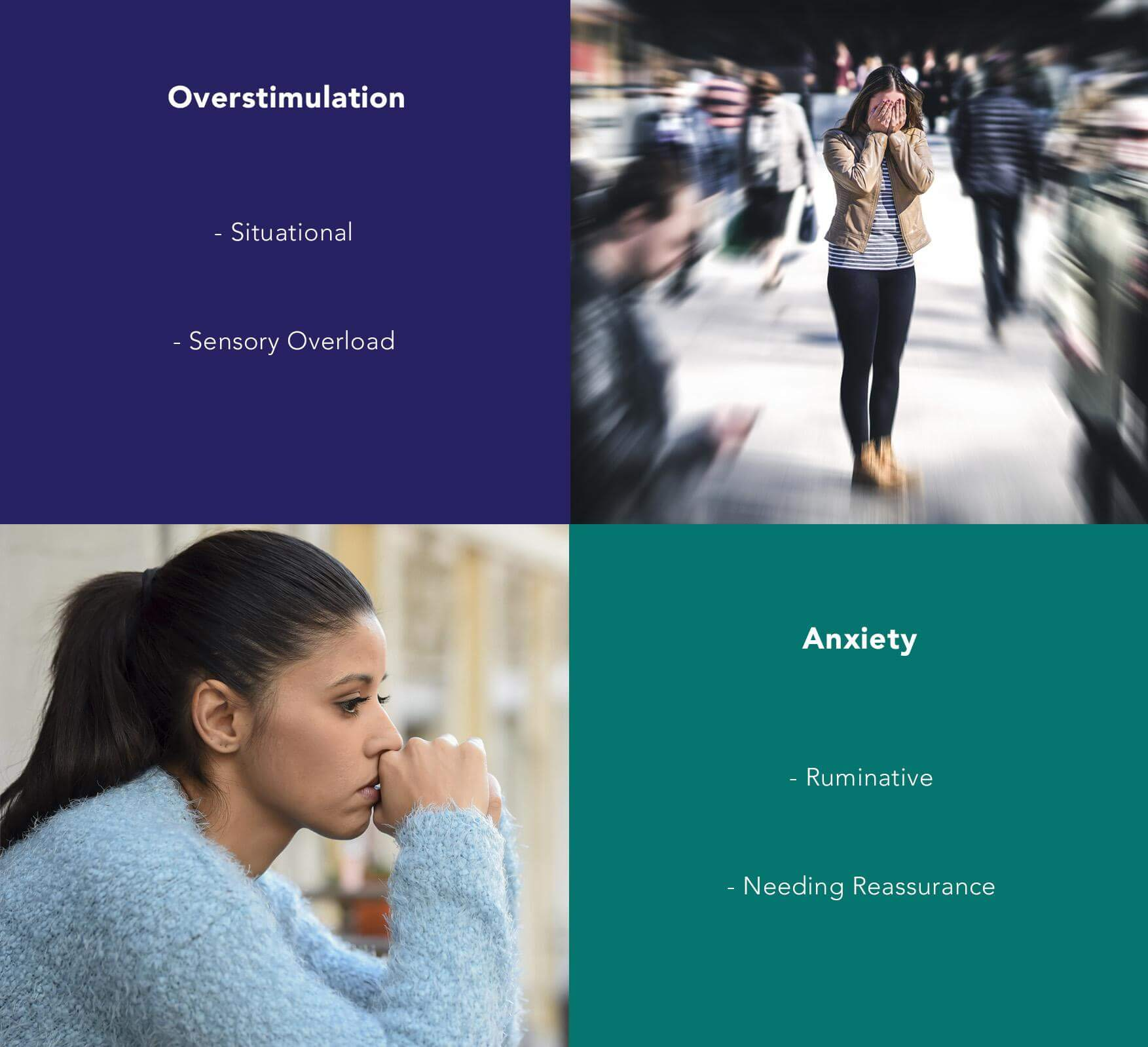Overstimulation: Situational, Sensory Overload; Anxiety: Ruminative, Needing Reassurance