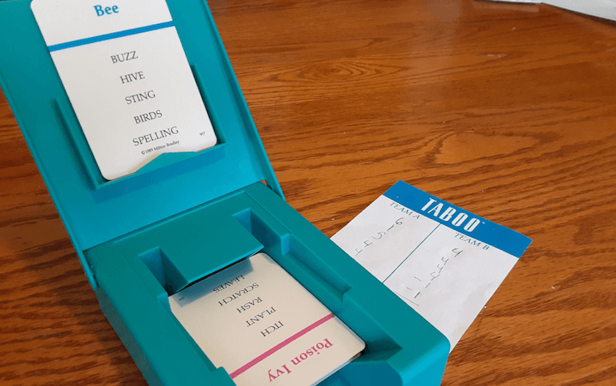 A game of Taboo is displayed. Cognitive therapy for brain injury helps with memory, attention, problem-solving, and more, plus you can keep building on those skills at home.
