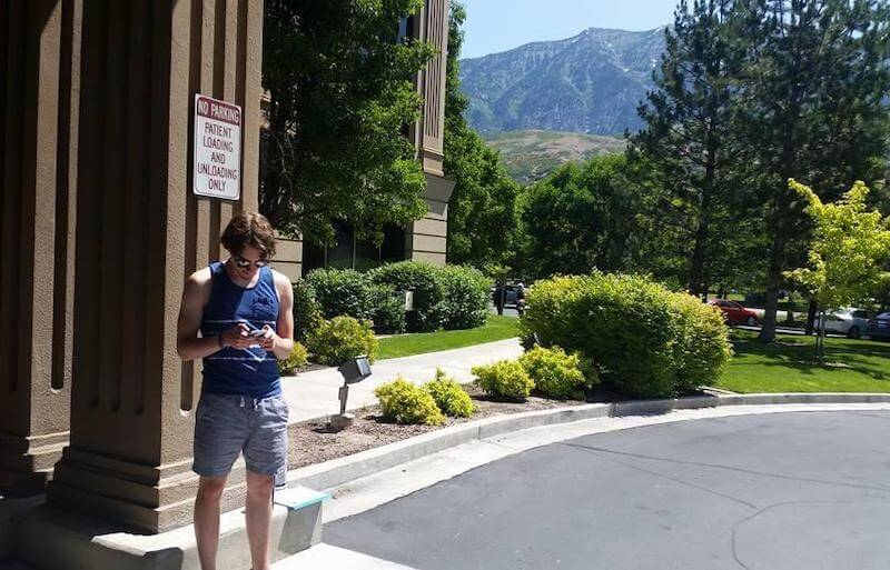 A photo of Chris waiting outside of Cognitive FX in Provo, Utah.